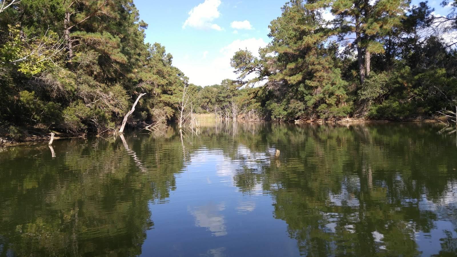 Lake Bastrop Texas kayak fishing on a beautiful day.